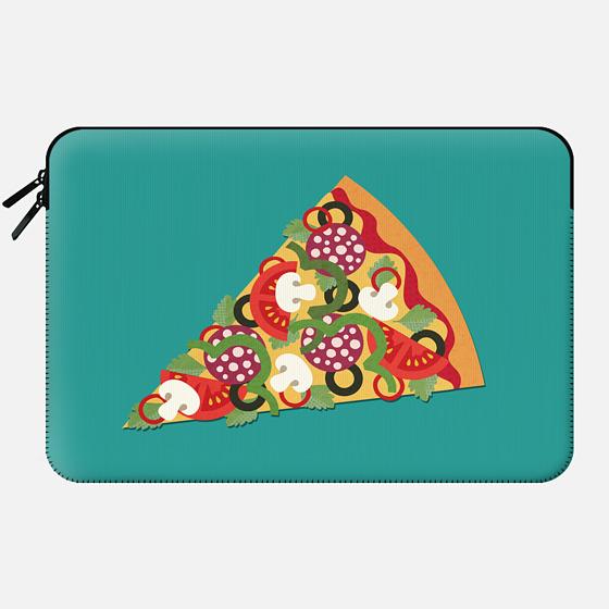 PIZZA POWER PEPPERONI ON TEAL - Macbook Sleeve
