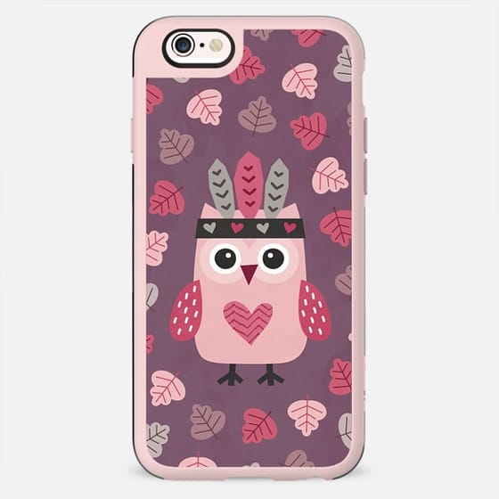 HIPSTER OWLET AND AUTUMN LEAVES ON PURPLE - New Standard Case