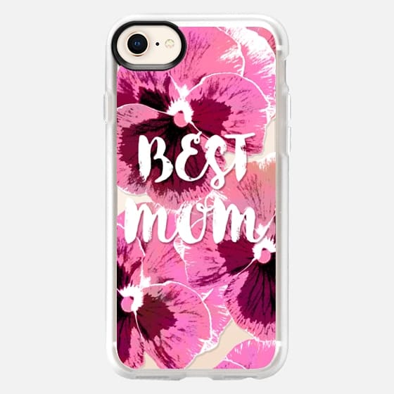 PINK PANSIES BEST MOM FLOWERS TYPOGRAPHIC MOTHER MOTHER'S DAY  - Snap Case