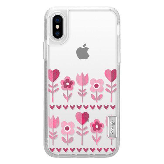 iPhone 7 Plus Cases - LOVE GARDEN TRANSPARENT PINK FLOWERS HEARTS RETRO BOHO FESTIVAL DAISY BEATRICE