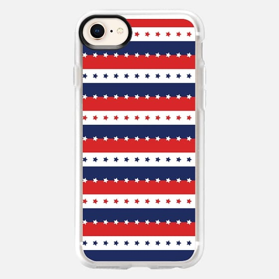 STARS AND STRIPES RED WHITE BLUE INDEPENDENCE DAY AMERICAN FOURTH 4TH JULY FLAG PATRIOTIC NATIONAL - Snap Case
