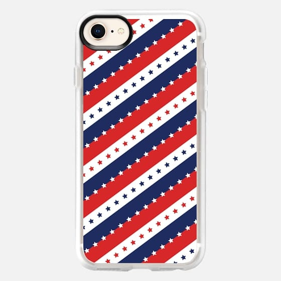STARS AND STRIPES RED WHITE BLUE INDEPENDENCE DAY AMERICAN FOURTH 4TH JULY FLAG PATRIOTIC NATIONAL ANGLED - Snap Case