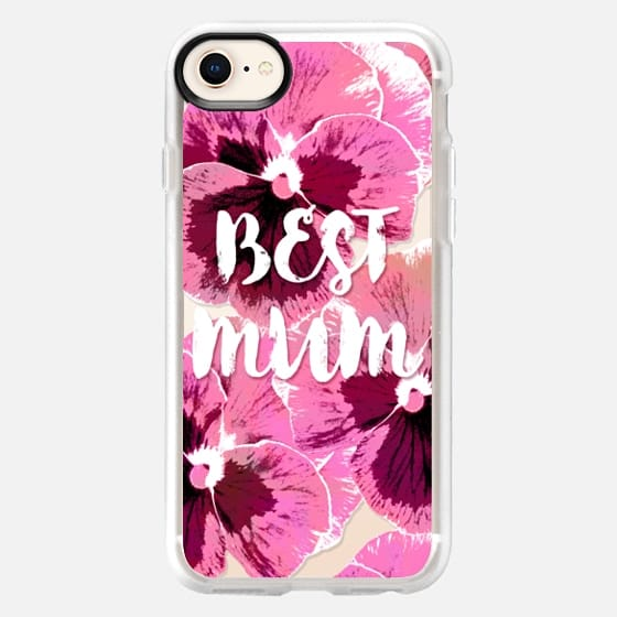 PINK PANSIES BEST MUM FLOWERS TYPOGRAPHIC MOTHER MOTHER'S DAY  - Snap Case
