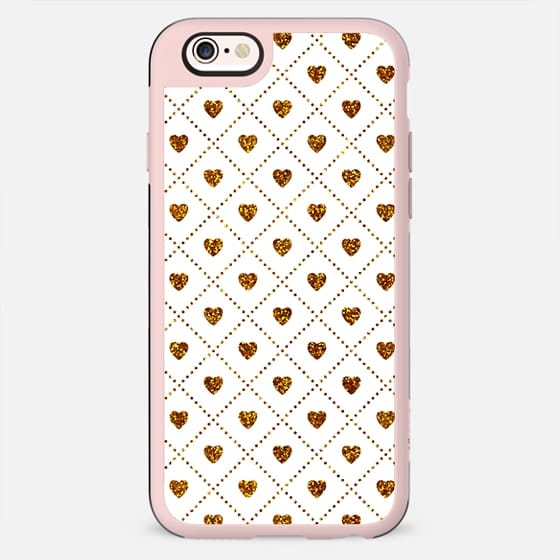 MINI HEARTS LATTICE - GOLD GLITTER ON WHITE - New Standard Case