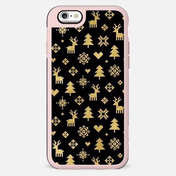 FAUX GOLD AND BLACK WINTER FOREST PATTERN REINDEER SNOWFLAKES TREES HOLIDAY CHRISTMAS XMAS