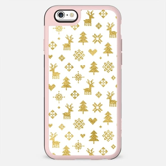 FAUX GOLD AND WHITE WINTER FOREST PATTERN REINDEER SNOWFLAKES TREES HOLIDAY CHRISTMAS XMAS - New Standard Case