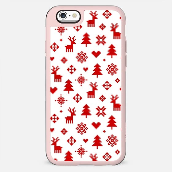RED AND WHITE WINTER FOREST PATTERN REINDEER SNOWFLAKES TREES HOLIDAY CHRISTMAS XMAS - New Standard Case