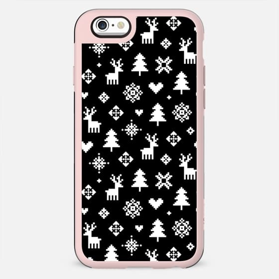 BLACK AND WHITE WHITE WINTER FOREST PATTERN REINDEER SNOWFLAKES TREES MINI HOLIDAY CHRISTMAS XMAS