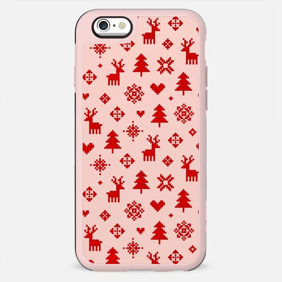 RED AND BLUSH PINK WINTER FOREST PATTERN REINDEER SNOWFLAKES TREES HOLIDAY CHRISTMAS XMAS - New Standard Case