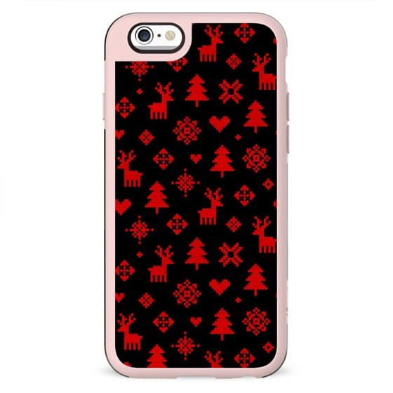 RED AND BLACK WINTER FOREST PATTERN REINDEER SNOWFLAKES TREES HOLIDAY CHRISTMAS XMAS