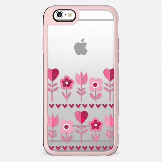 LOVE GARDEN TRANSPARENT PINK FLOWERS HEARTS RETRO BOHO FESTIVAL DAISY BEATRICE - New Standard Case