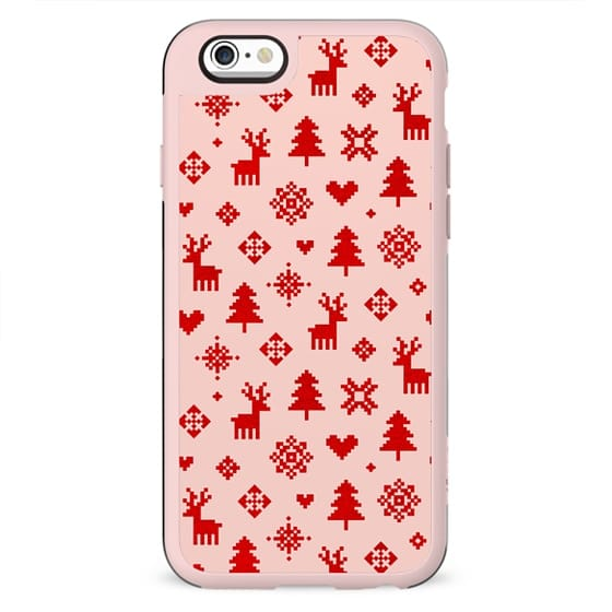RED AND BLUSH PINK WINTER FOREST PATTERN REINDEER SNOWFLAKES TREES HOLIDAY CHRISTMAS XMAS