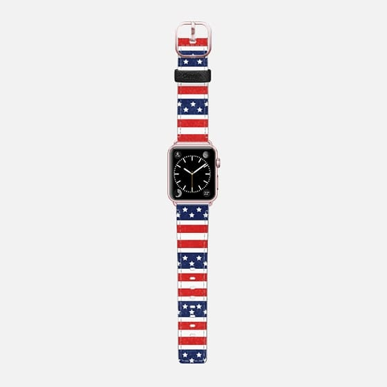 STARS AND STRIPES RED WHITE BLUE AMERICAN FLAG 4TH JULY DAISY BEATRICE - Saffiano Leather Watch Band