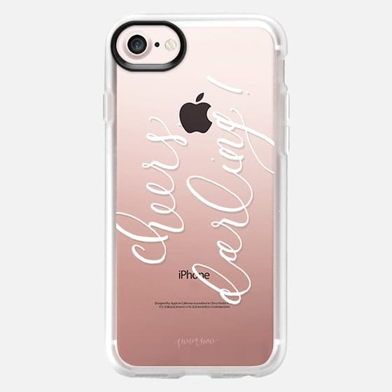 Cheers Darling White Calligraphy by Simply Jessica Marie - Snap Case