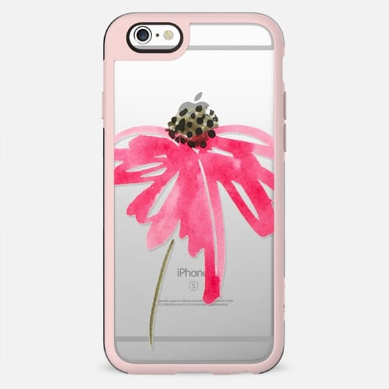 Single Watercolor Painted Flower with pinks and green - New Standard Case