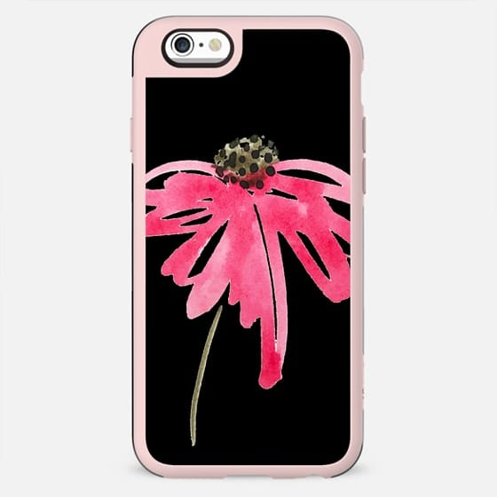 Bold Black Background with Single Watercolor Painted Flower