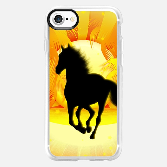 Wild Horse Running on Tropical Sunset - Classic Grip Case