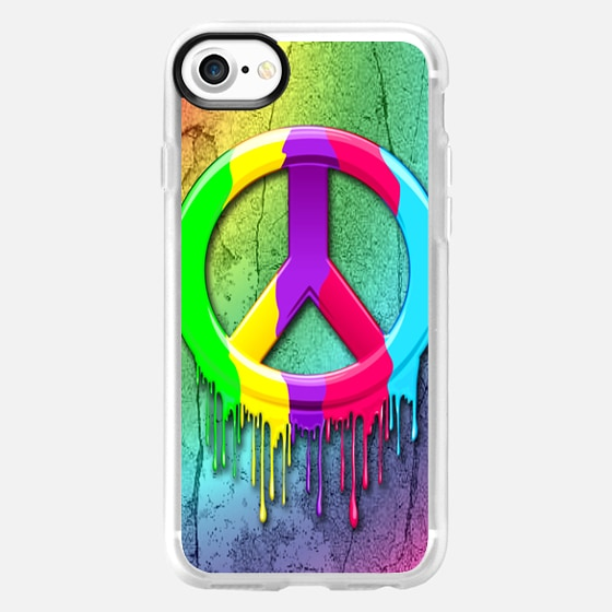 Peace Symbol Dripping Rainbow Paint - Classic Grip Case