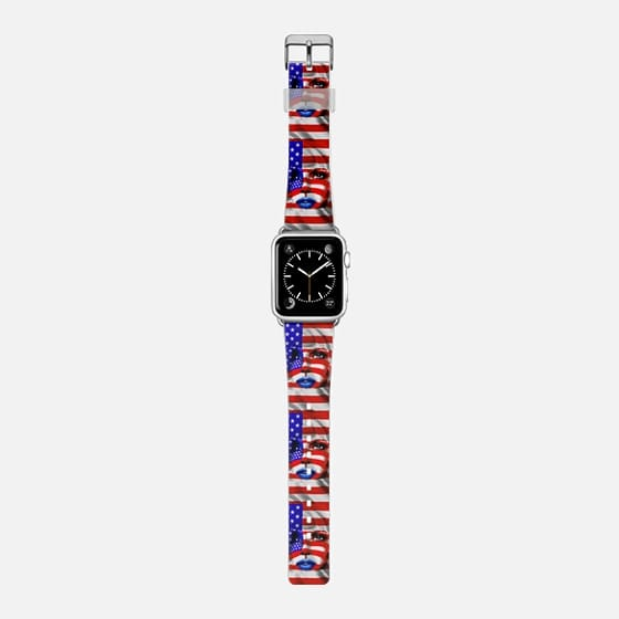 USA Flag Girl Portrait  - Saffiano Leather Watch Band