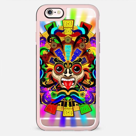 Aztec Warrior Mask Rainbow Colors