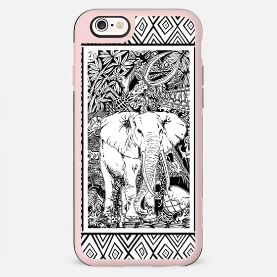 White Elephant Indian Ink Tribal Art - New Standard Case