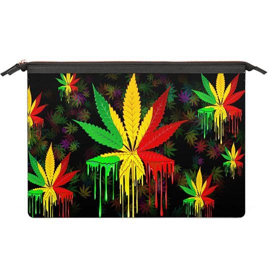 MacBook 12 Sleeves - Marijuana Leaf Rasta Colors Dripping Paint