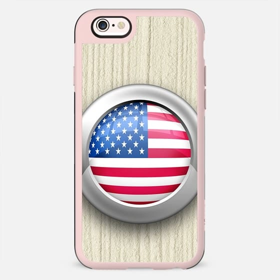 USA Flag Glossy Icon Button
