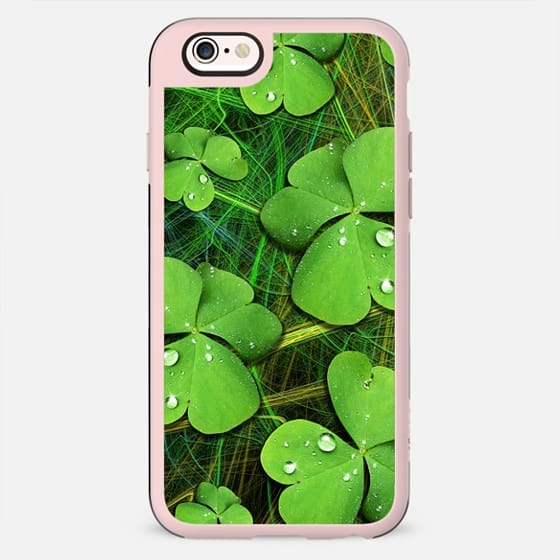 Green Lucky Shamrocks with Dew Drops