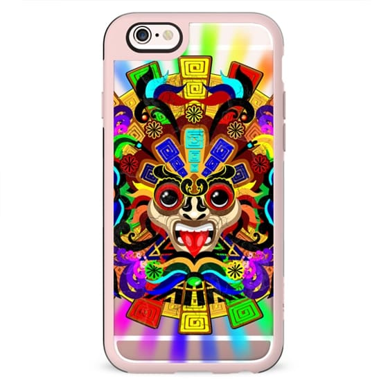 Aztec Warrior Mask Rainbow Colors