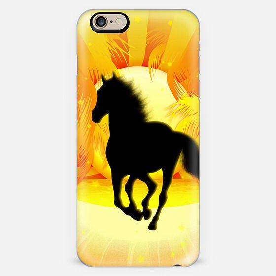 Wild Horse Running on Tropical Sunset -