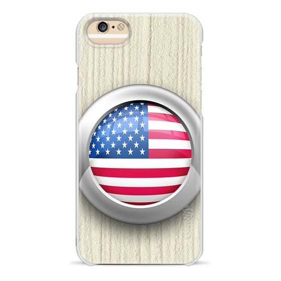 iPhone 6s Cases - USA Flag Glossy Icon Button