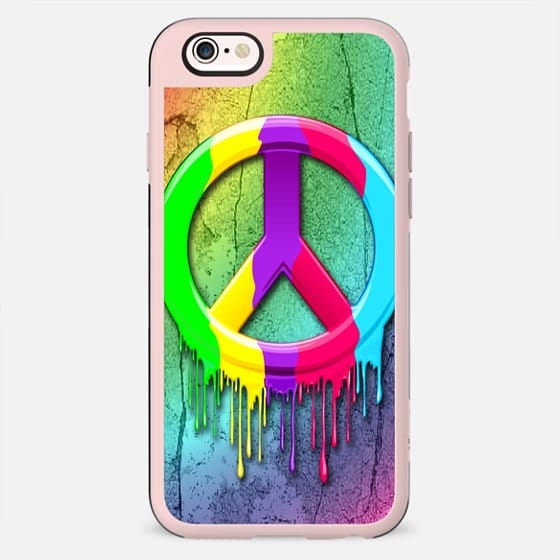 Peace Symbol Dripping Rainbow Paint