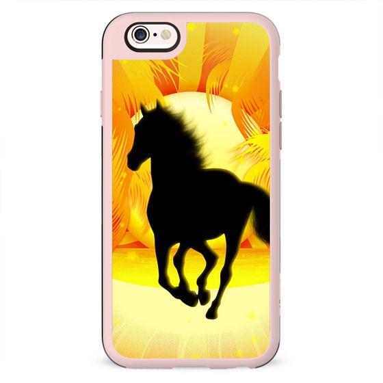 Wild Horse Running on Tropical Sunset