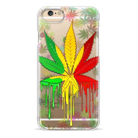 iPhone 6 Cases - Marijuana Leaf Rasta Colors Dripping Paint