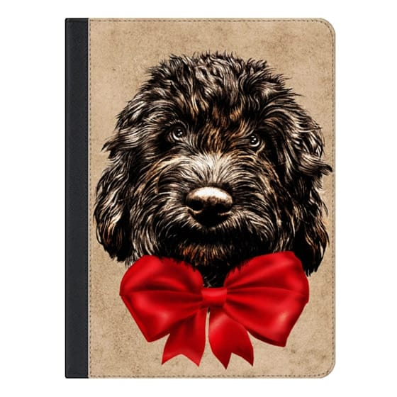Dog Cute Vintage Puppy Pet with Red Bow
