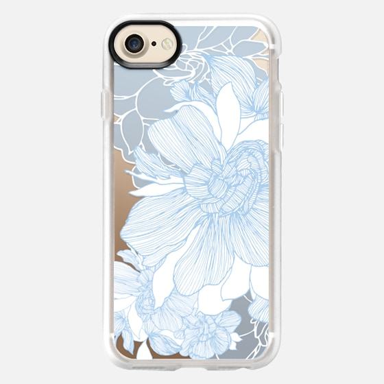 Gardenia, white and blue_bright1 - Wallet Case