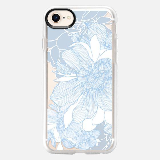 Gardenia, white and blue_bright1 - Snap Case