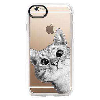 Grip iPhone 6 Case - peekaboo cat on rose gold