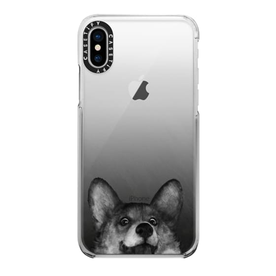 iPhone X Cases - corgi on gold
