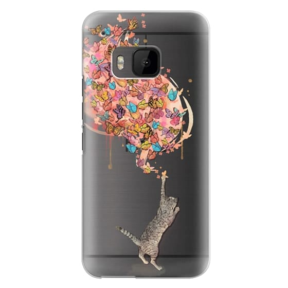 Htc One M9 Cases - cat catching butterflies