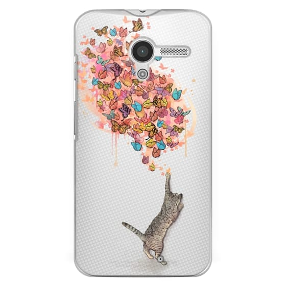 Moto X Cases - cat catching butterflies
