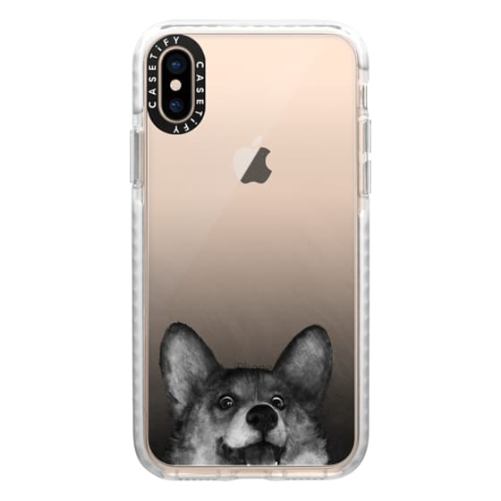 iPhone XS Cases - corgi on gold