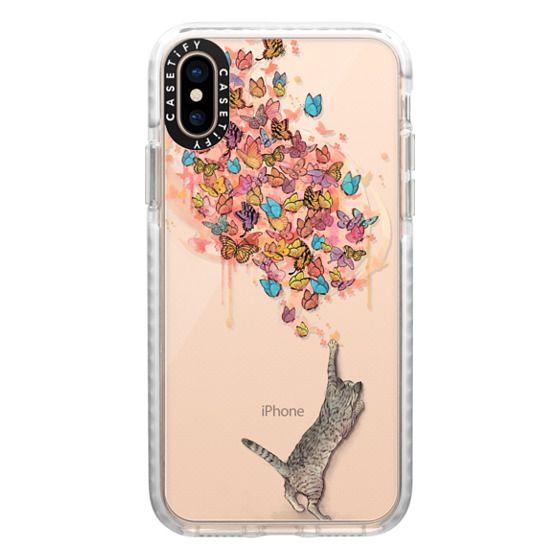 iPhone XS Cases - cat catching butterflies