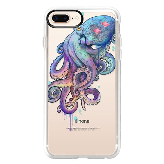 iPhone 8 Plus Cases - nautical rainbow coloured octopus with psychedelic tentacles