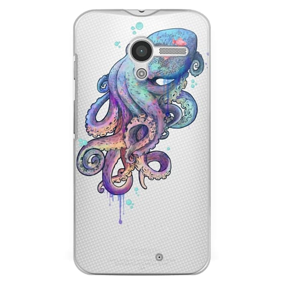 Moto X Cases - nautical rainbow coloured octopus with psychedelic tentacles