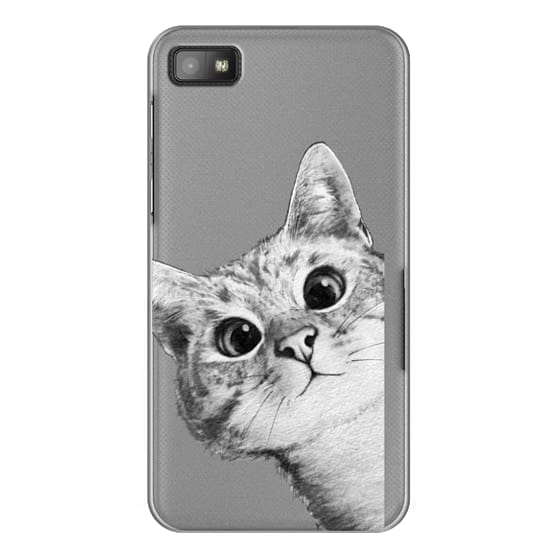 Blackberry Z10 Cases - peekaboo cat on rose gold