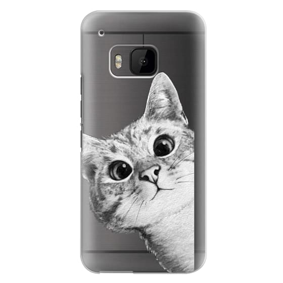 Htc One M9 Cases - peekaboo cat on rose gold