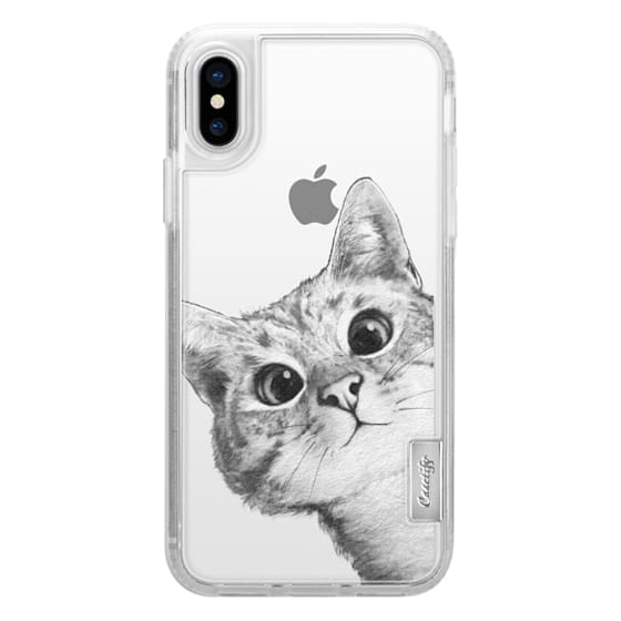 iPhone X Cases - peekaboo cat on rose gold