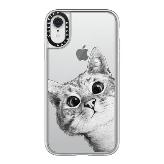 iPhone XR Cases - peekaboo cat on rose gold