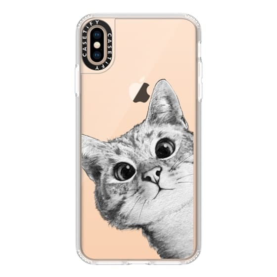 iPhone XS Max Cases - peekaboo cat on rose gold